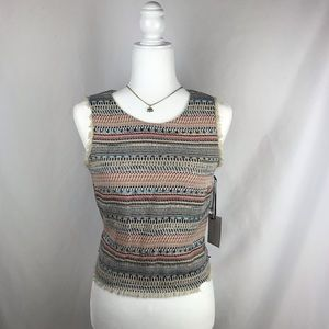 1. State Gypsy Night Woven Frayed Top